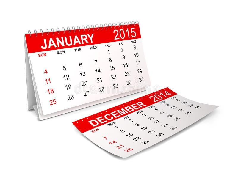 Calendrier 2015 janvier illustration de vecteur