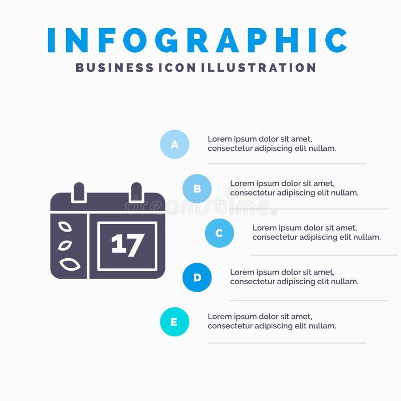 Calendrier, jour, date, fond solide de présentation d'étapes d'Infographics 5 d'icône de l'Irlande illustration stock
