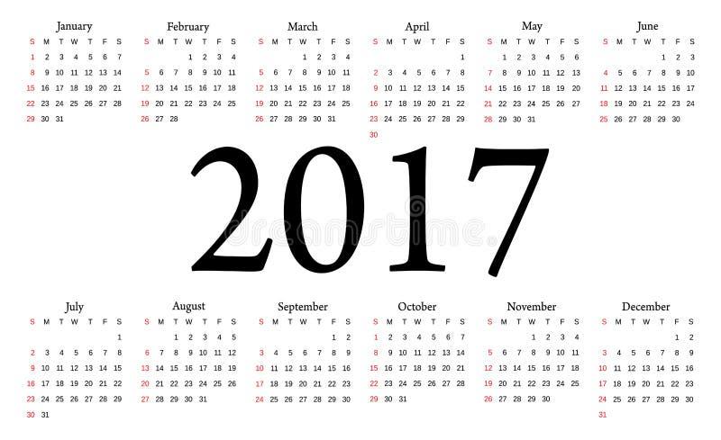 Download Calendrier 2017 La Semaine Commence à Partir Du Dimanche Illustration de Vecteur - Illustration du novembre, marche: 76083477