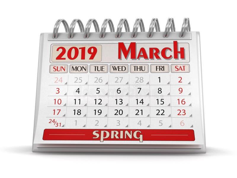 Calendrier - mars 2019 illustration stock