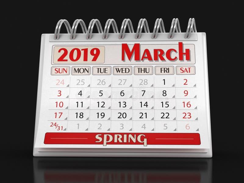 Calendrier - mars 2019 illustration de vecteur