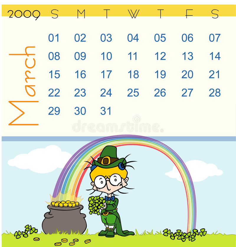 Calendrier - mars 2009 illustration stock