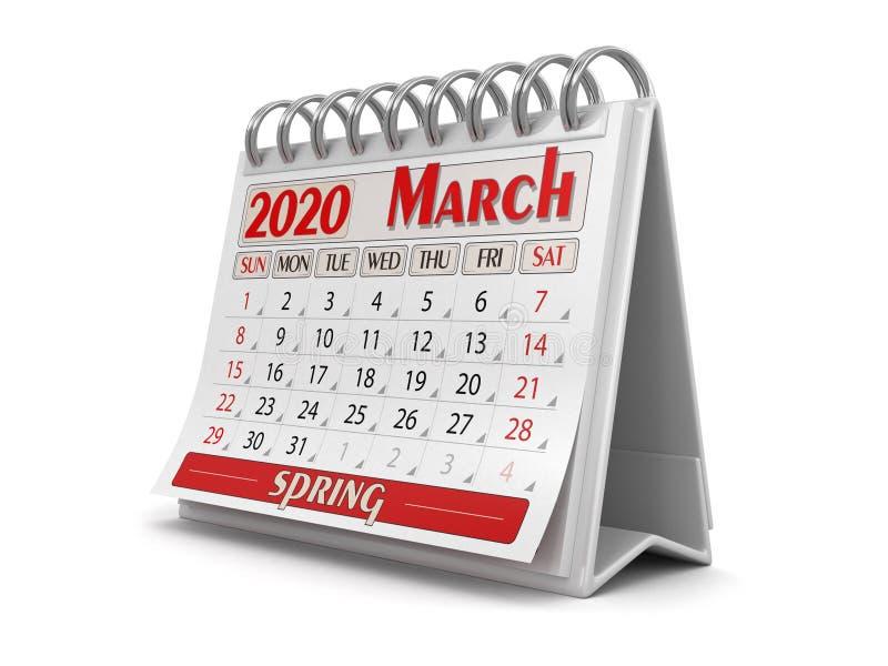 Calendrier - mars 2020 - chemin de découpage inclus illustration libre de droits