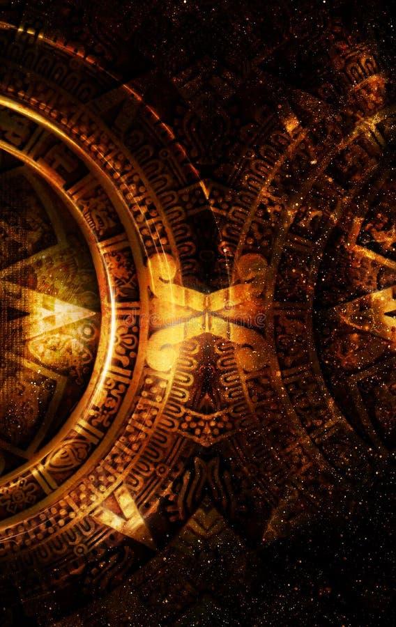 Calendrier maya antique, espace cosmique et étoiles, fond abstrait de couleur, collage d'ordinateur illustration de vecteur