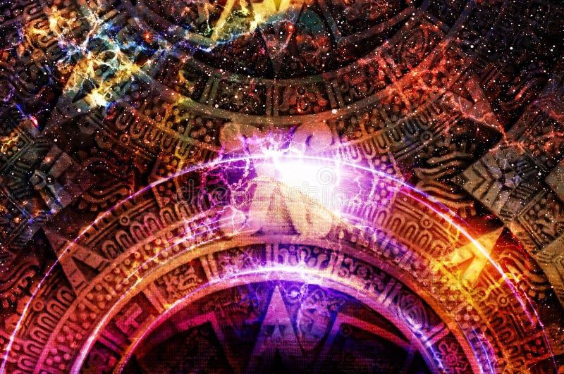 Calendrier maya antique, espace cosmique et étoiles, fond abstrait de couleur, collage d'ordinateur illustration libre de droits