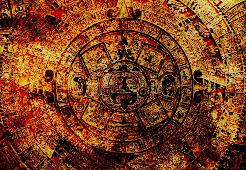 Calendrier maya antique, fond abstrait de couleur photographie stock