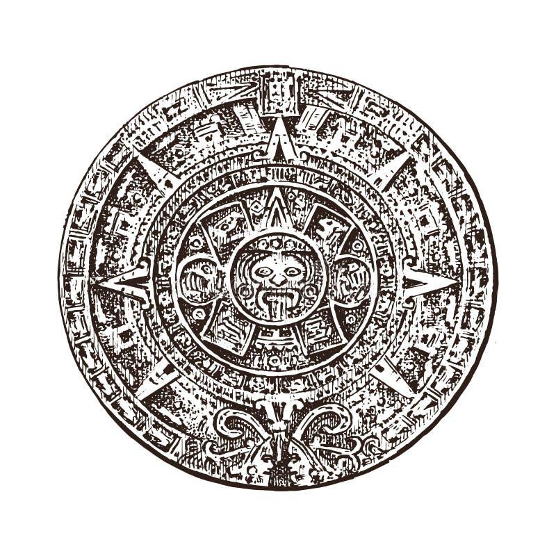 Calendrier maya de vintage culture aztèque indigène traditionnelle Le Mexique monochrome antique Indiens d'Amerique main gravée illustration de vecteur