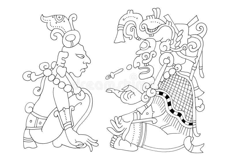 Calendrier maya - image du codex de Dresde illustration stock