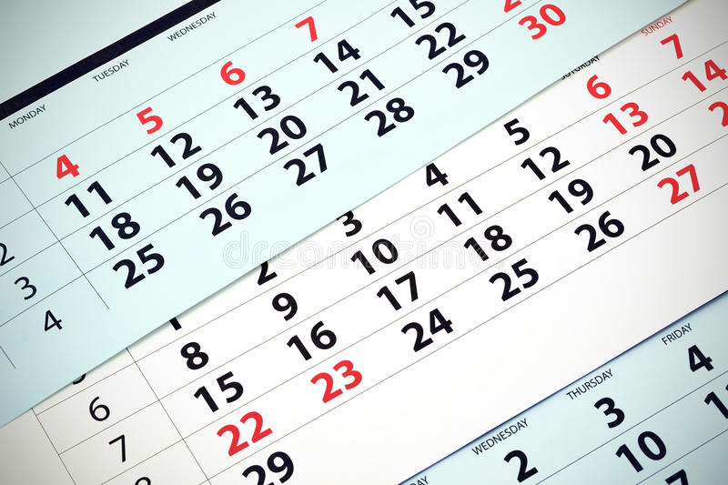 Calendrier mensuel images stock
