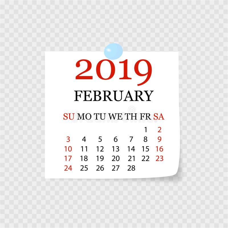 Calendrier mensuel 2019 avec la boucle de page Arrachez le calendrier pour février Fond blanc Illustration de vecteur illustration stock