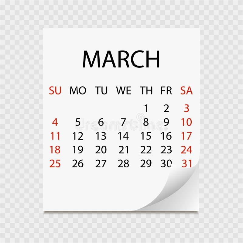 Calendrier mensuel 2018 avec la boucle de page Arrachez le calendrier pour mars Fond blanc illustration libre de droits