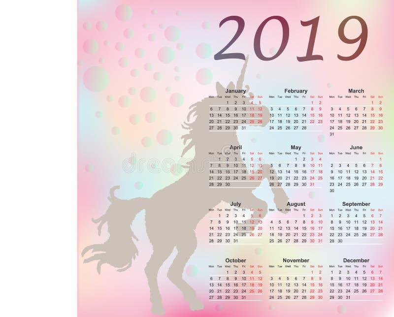 Calendrier mensuel d'arc-en-ciel mignon avec la licorne 2019 La semaine commence à partir du lundi illustration de vecteur
