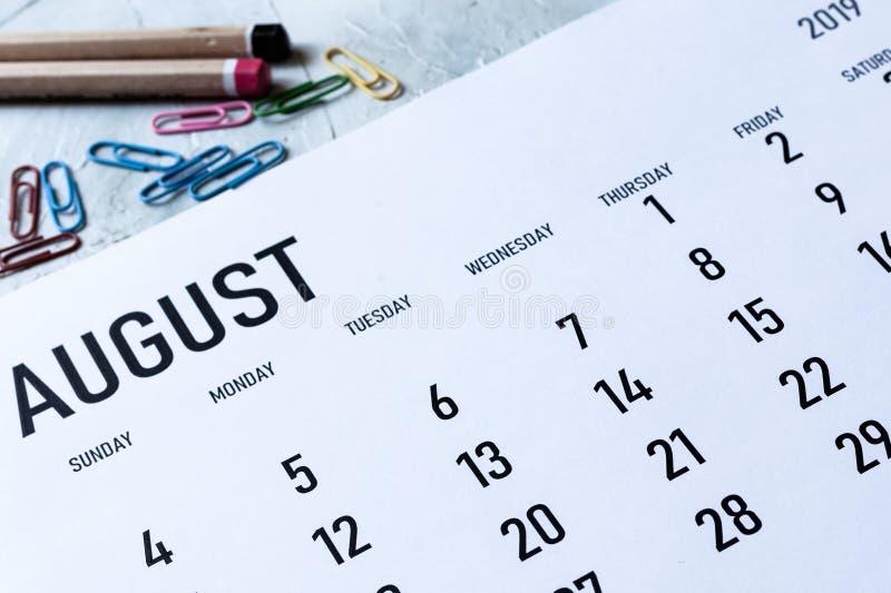 Calendrier mensuel en août 2019 image stock