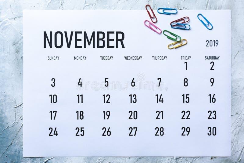 Calendrier mensuel en novembre 2019 image stock