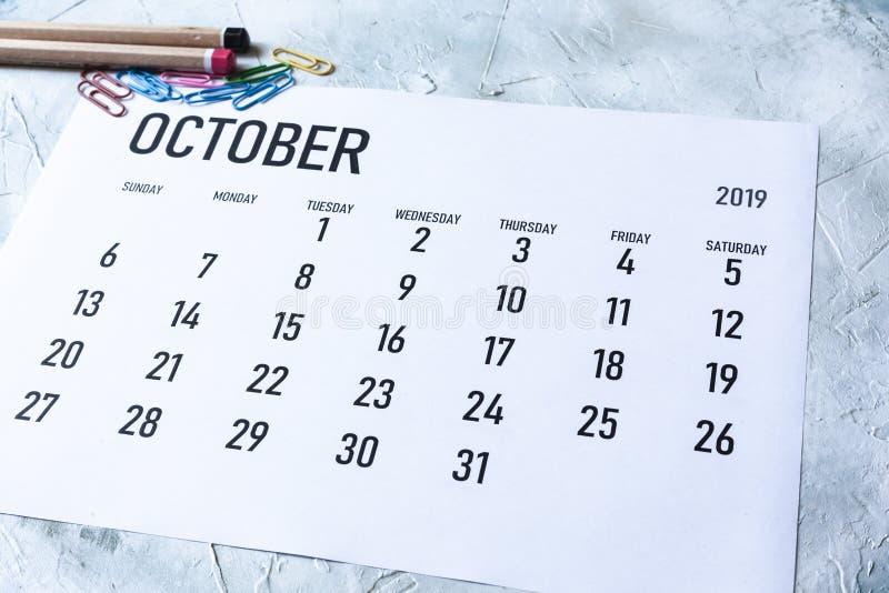 Calendrier mensuel en octobre 2019 photos stock