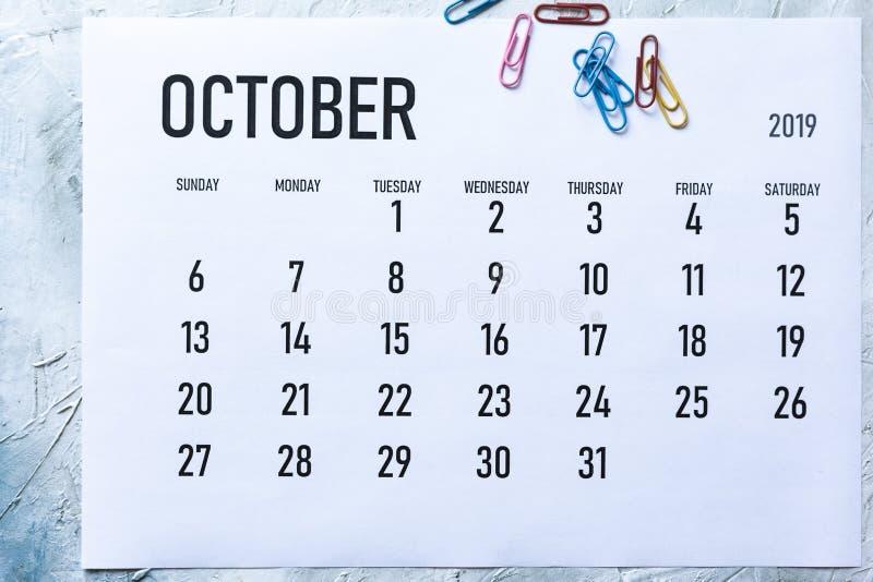 Calendrier mensuel en octobre 2019 image stock