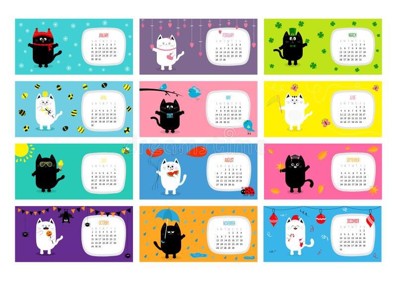 Calendrier mensuel horizontal 2017 de chat Jeu de caractères drôle mignon de bande dessinée illustration libre de droits