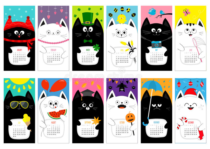 Calendrier mensuel vertical 2017 de chat Tout le mois Jeu de caractères drôle mignon de bande dessinée Noël heureux Pâques de jou illustration libre de droits