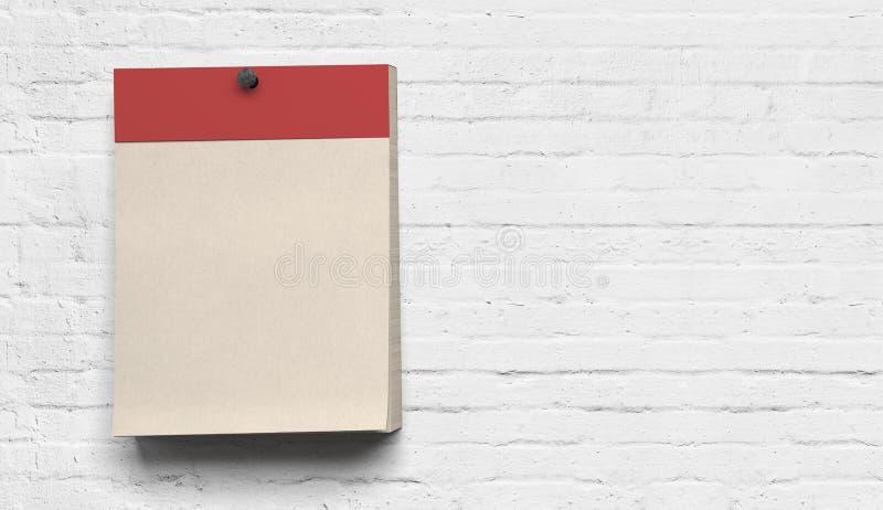 Calendrier mural de blanc de résumé rétro au fond - illustration image stock