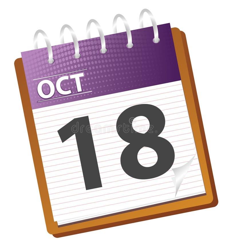 Calendrier octobre illustration libre de droits