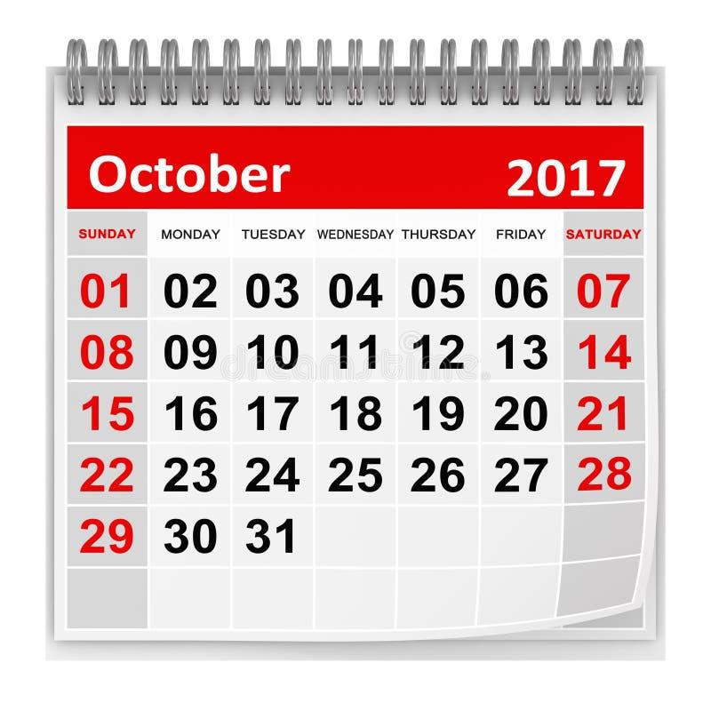 Calendrier octobre 2017 illustration stock illustration du mois 83604033 - Mois du blanc 2017 ...