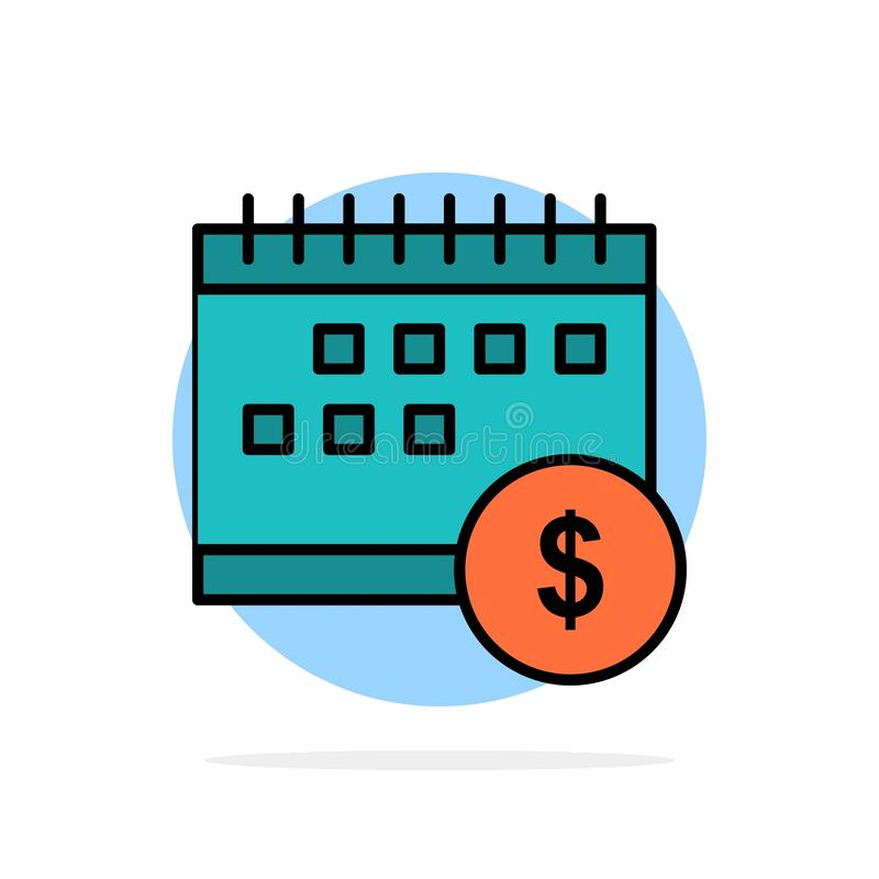 Calendrier, opérations bancaires, dollar, argent, temps, icône plate de couleur de fond abstrait économique de cercle illustration libre de droits
