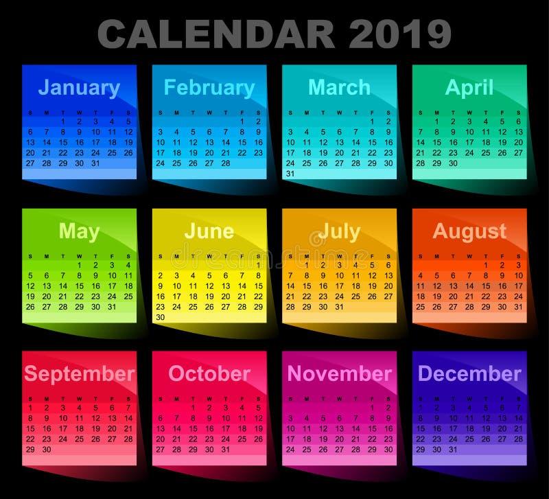 Calendrier pendant 2019 années Le blanc collant coloré de notes? et préparent pour la copie feuilles de papier colorées illustration libre de droits