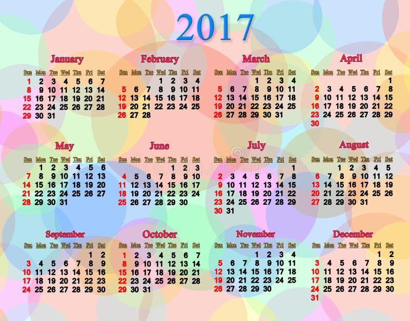 Calendrier pendant des 2017 années ordonnée avec les anneaux et les cercles multicolores illustration libre de droits