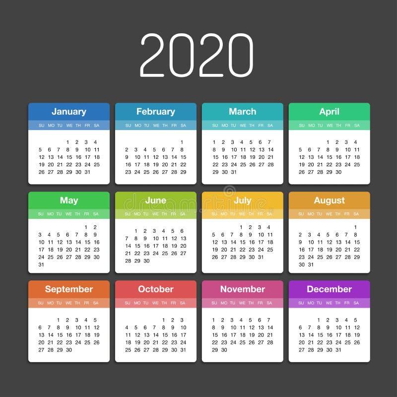 Calendrier planificateur de jour de calibre de 2020 ans dans ce minimaliste illustration libre de droits