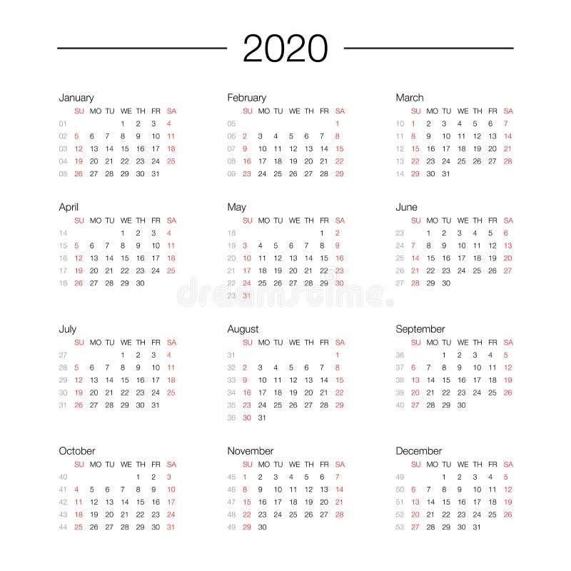 Calendrier planificateur de jour de calibre de 2020 ans dans ce minimaliste illustration de vecteur