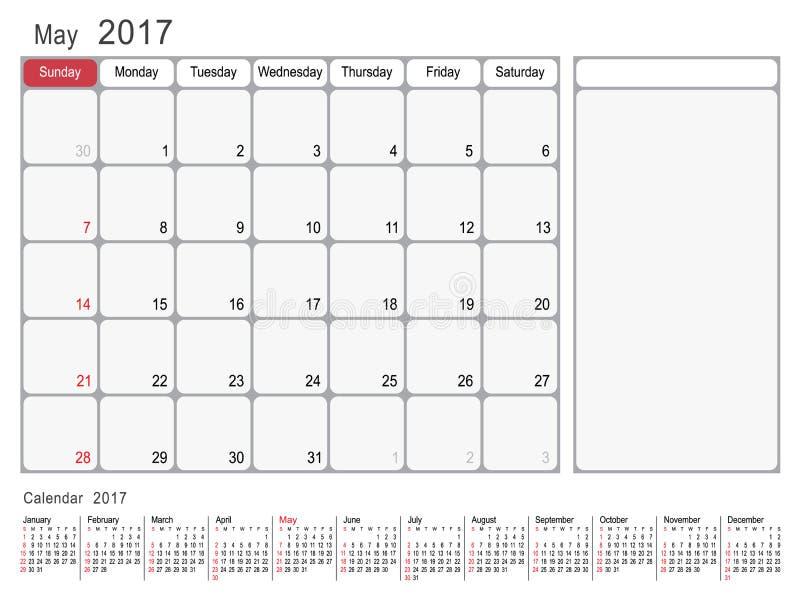 Calendrier planificateur en mai 2017 illustration libre de droits