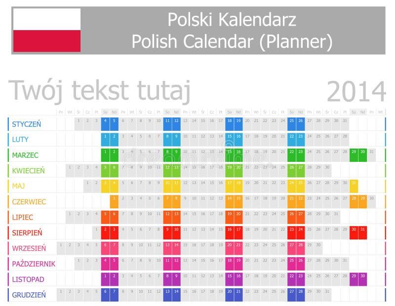 Calendrier polonais du planificateur 2014 avec des mois horizontaux illustration stock
