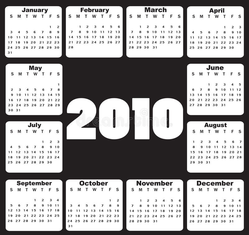 Calendrier pour 2010 illustration stock