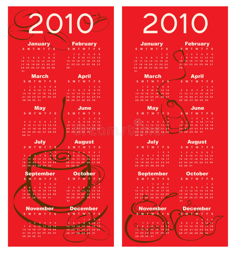 Calendrier pour 2010 illustration libre de droits