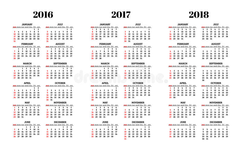 Calendrier pour 2016, 2017, 2018 ans sur le vecteur blanc de fond illustration de vecteur