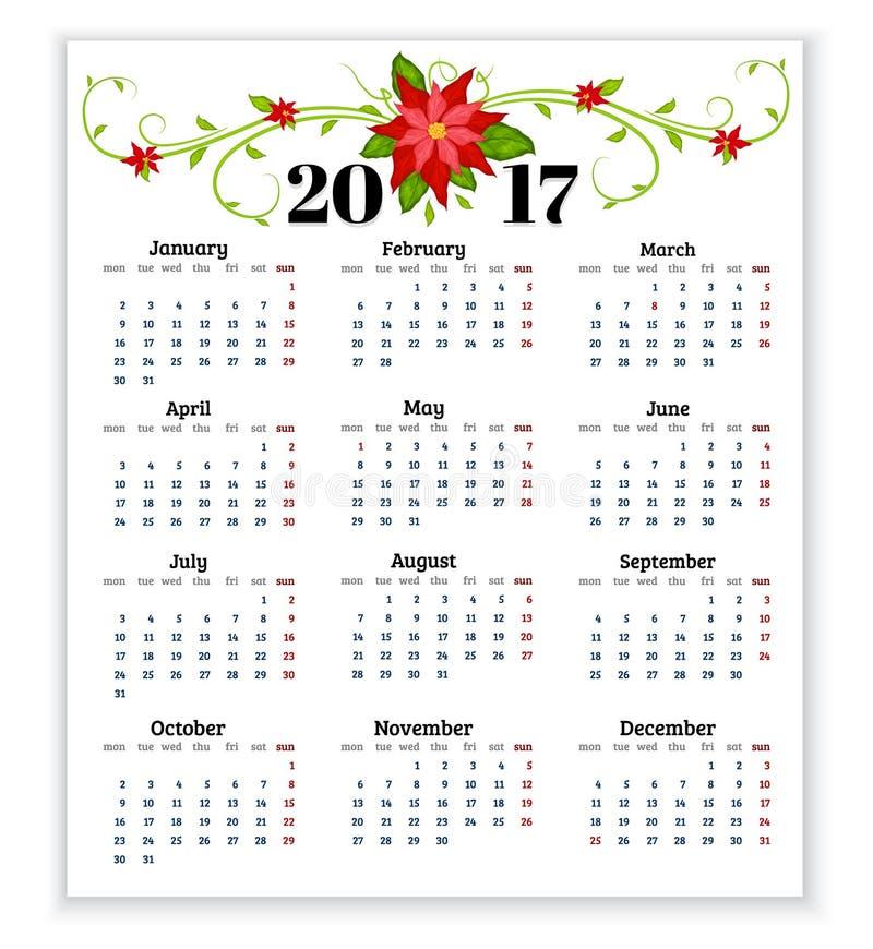 calendrier pour 2017 avec des fleurs de vecteur de poinsettia illustration de vecteur. Black Bedroom Furniture Sets. Home Design Ideas