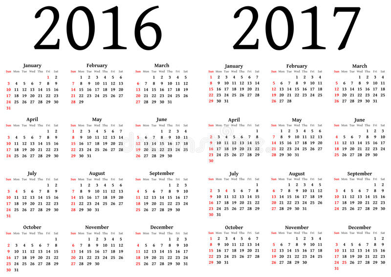 Calendrier pour 2016 et 2017 illustration libre de droits