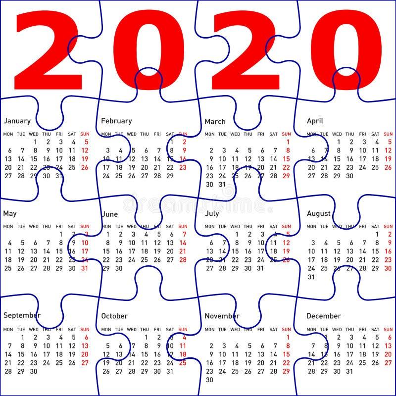 Calendrier pour le fond de texture du puzzle 2020 denteux illustration libre de droits