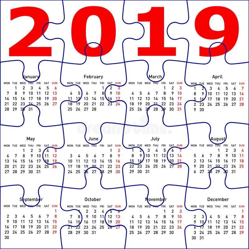Calendrier pour le fond de texture de puzzle denteux de la nouvelle année 2019 illustration stock