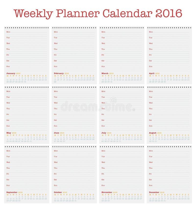 Calendrier pour 2016 Planificateur hebdomadaire pendant l'année 2016 illustration stock