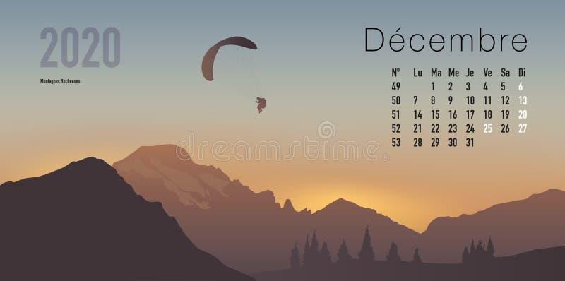 calendrier 2020 prêt à imprimer dans la version française, montrant des couchers du soleil sur des paysages de montagne illustration stock