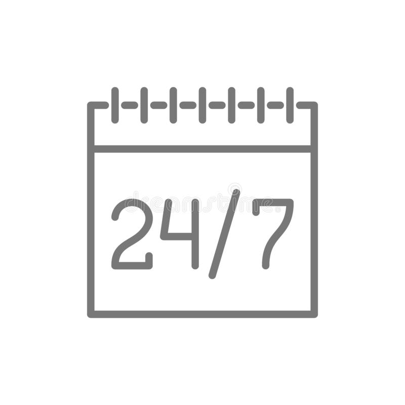 Calendrier, programme, 24 heures de tuyau de service disponible ic?ne illustration stock