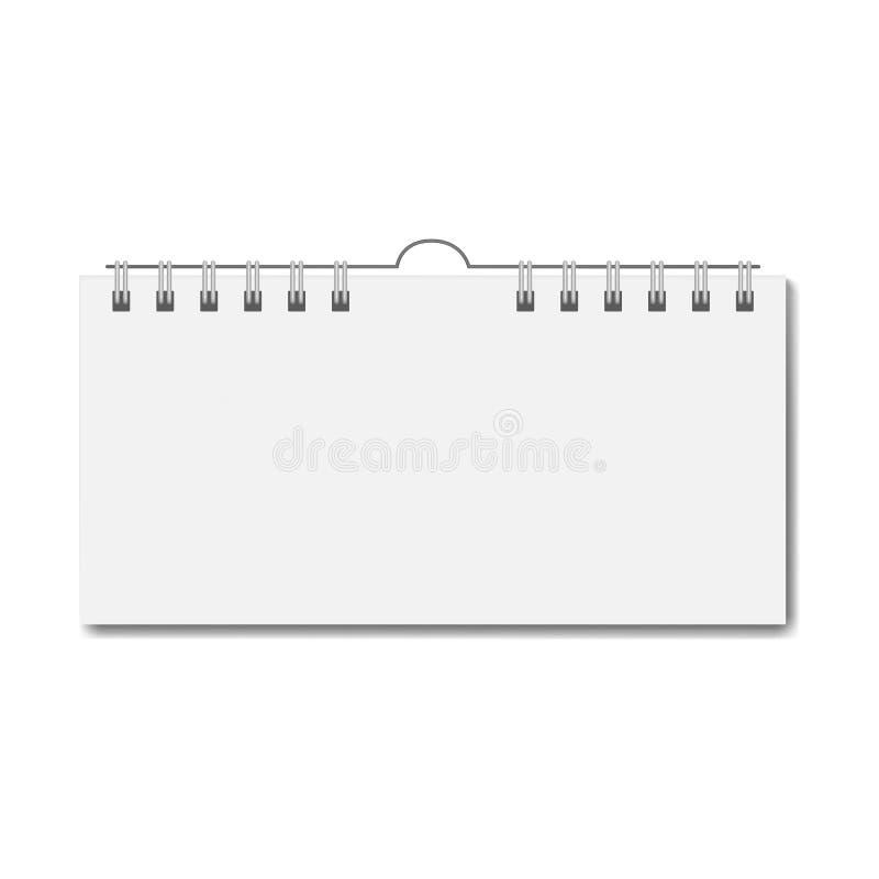 Calendrier rectangulaire réaliste vide sur la spirale illustration stock