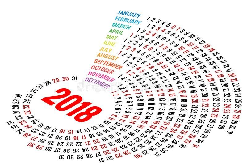 Calendrier rond 2018 de vecteur sur le fond blanc Orientation de portrait Ensemble de 12 mois Planificateur pendant 2018 années illustration stock