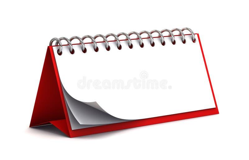 Calendrier rouge blanc de papier de bureau illustration stock