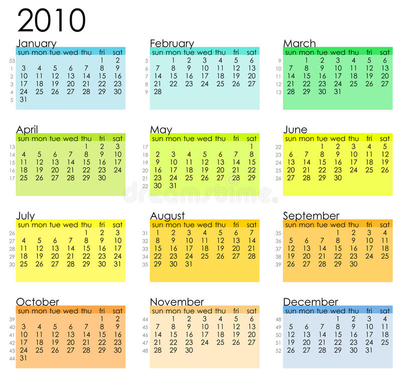 Calendrier simple 2010 illustration stock