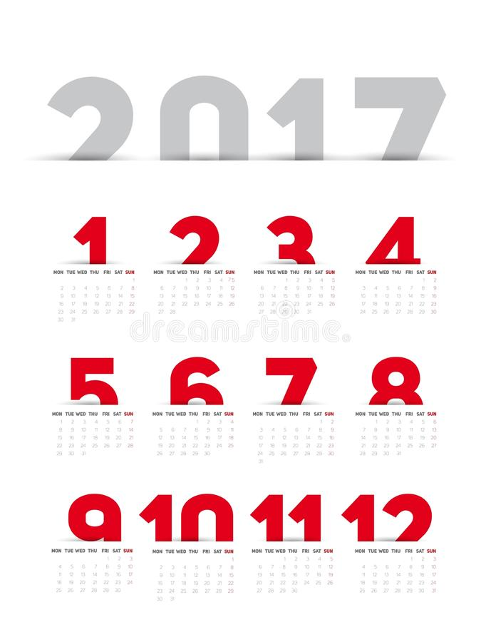 Download Calendrier 2017 simple illustration stock. Illustration du janvier - 77159284