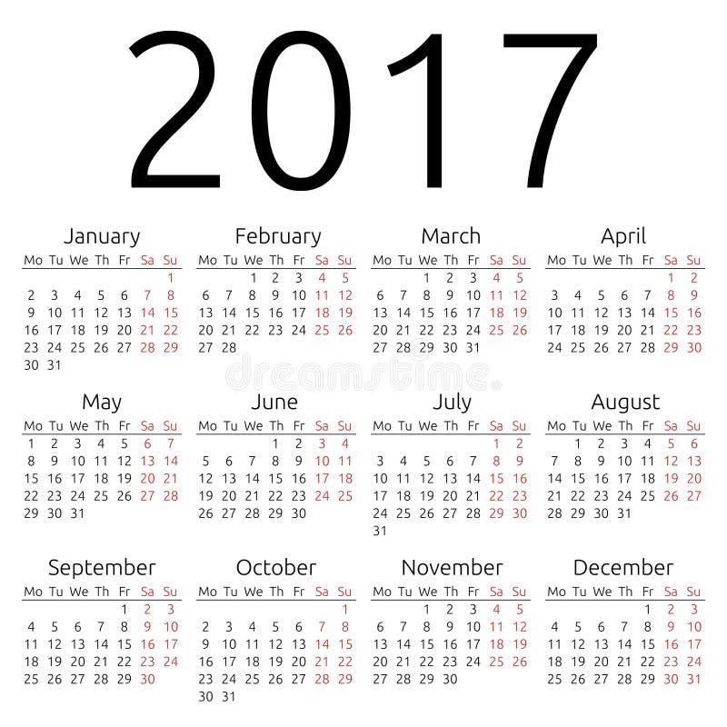 Calendrier simple 2017 de vecteur illustration stock