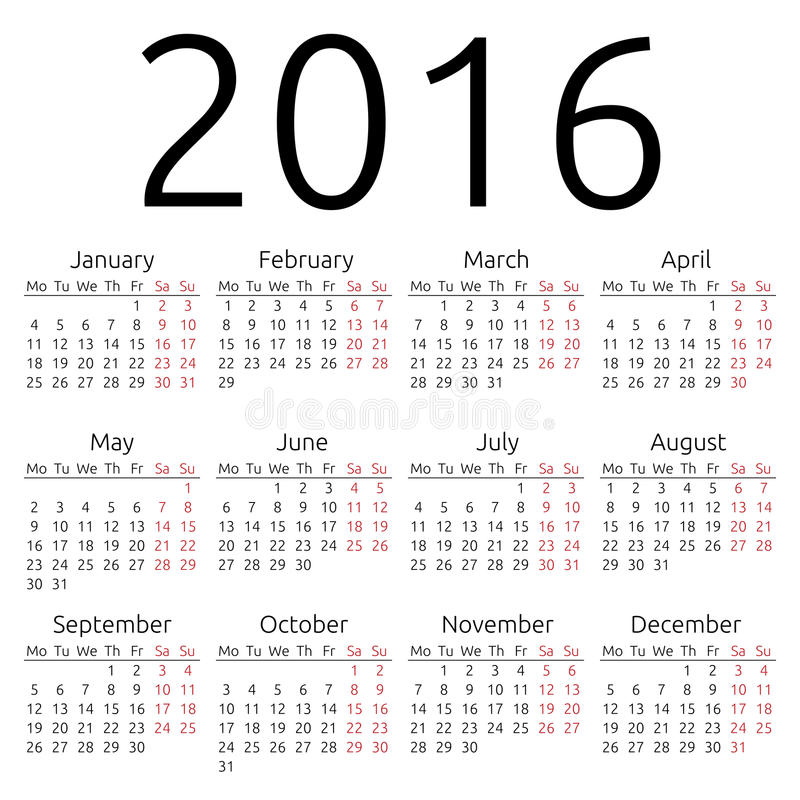Calendrier simple 2016 de vecteur illustration de vecteur