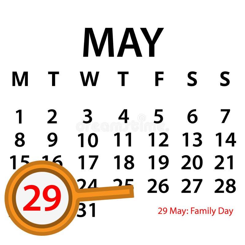 Calendrier simple de vecteur 29 mai Commémorez le jour de famille illustration de vecteur